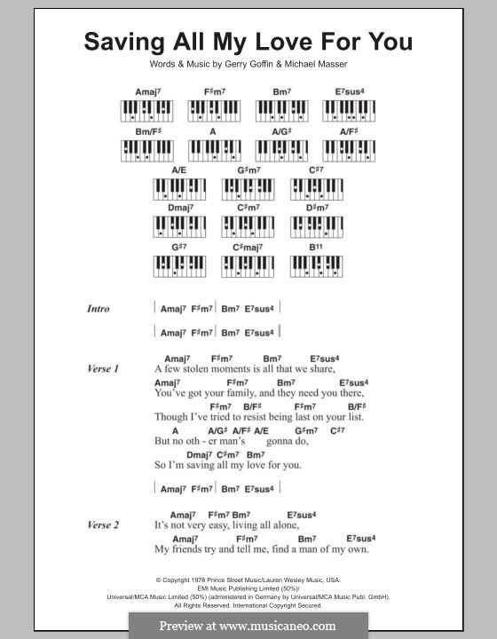 Saving All My Love for You (Whitney Houston): Text und Akkorde für Klavier by Gerry Goffin, Michael Masser