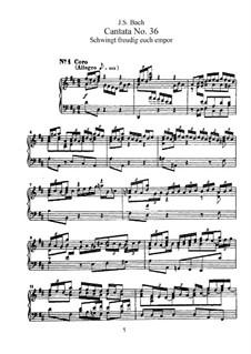 Schwingt freudig euch empor, BWV 36: Klavierauszug mit Singstimmen by Johann Sebastian Bach