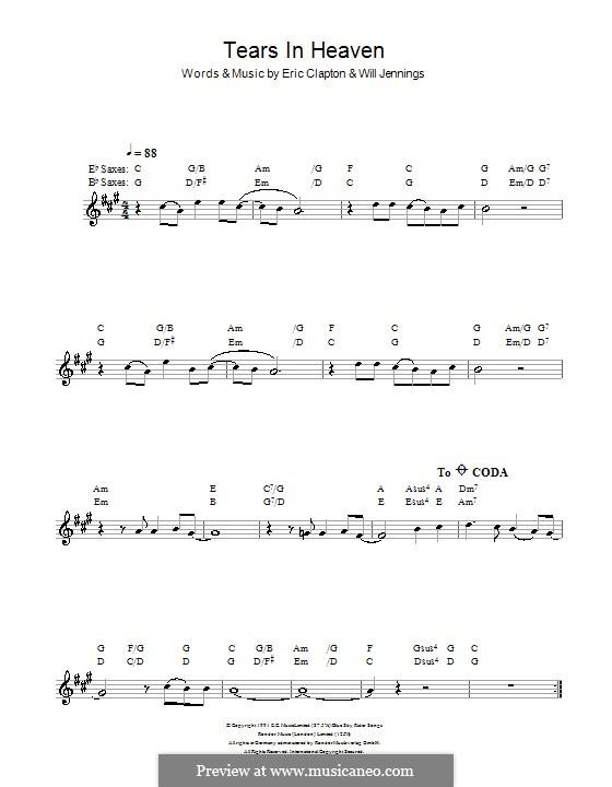 Tears in Heaven: Für Saxophon by Eric Clapton, Will Jennings