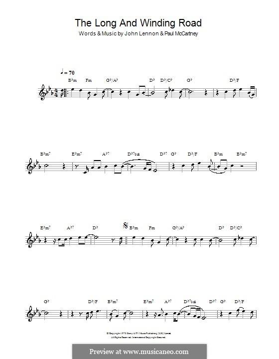 The Long and Winding Road (The Beatles): Für Klarinette by John Lennon, Paul McCartney