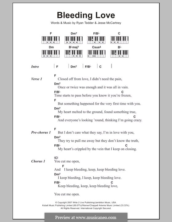 Bleeding Love (Leona Lewis): Text und Akkorde für Klavier by Jesse McCartney, Ryan B Tedder