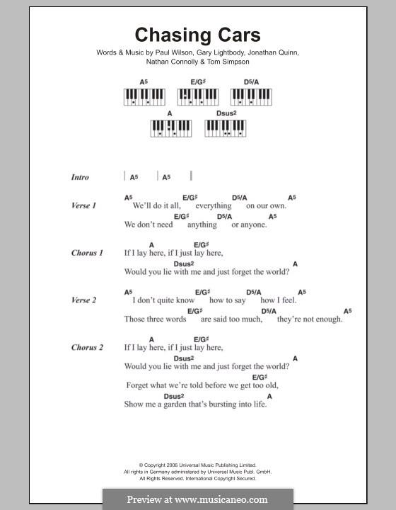 Chasing Cars (Snow Patrol): Text und Akkorde für Klavier by Gary Lightbody, Jonathan Quinn, Nathan Connolly, Paul Wilson, Tom Simpson