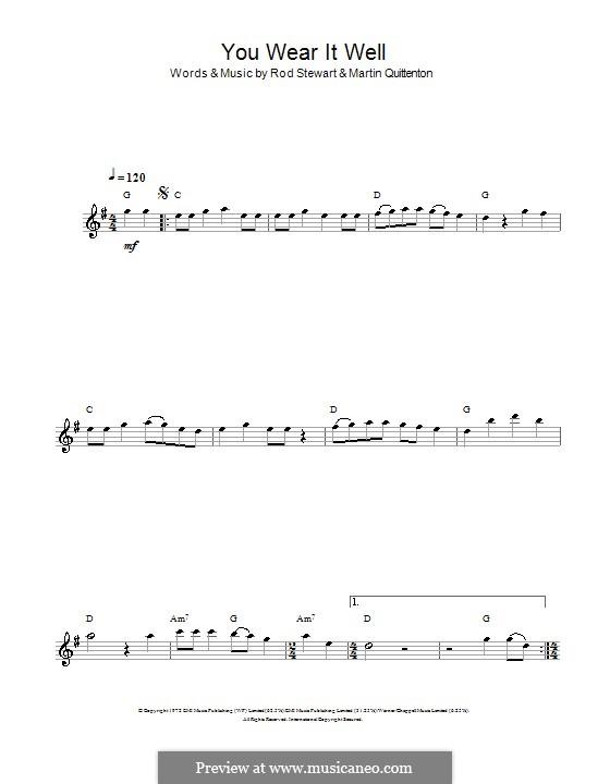 You Wear It Well: Für Flöte by Martin Quittenton, Rod Stewart