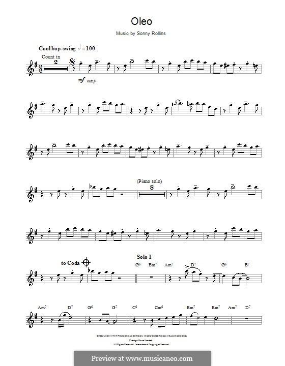 Oleo: Für Altsaxophon by Sonny Rollins