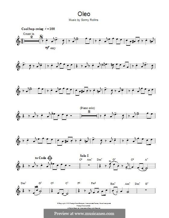 Oleo: Für Klarinette by Sonny Rollins