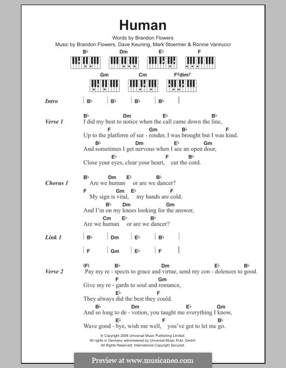 Human (The Killers): Text und Akkorde für Klavier by Brandon Flowers, Dave Keuning, Mark Stoermer, Ronnie Vannucci