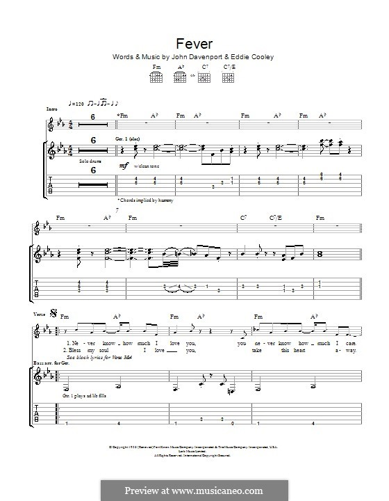 Fever: For guitar with tab (Eva Cassidy) by Eddie Cooley, John Davenport