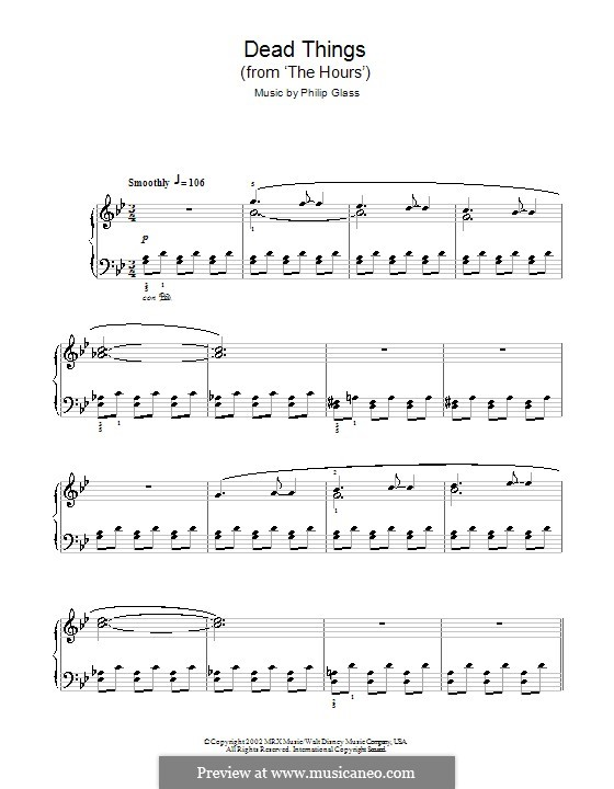 Dead Things (from The Hours): Für Klavier, leicht by Philip Glass