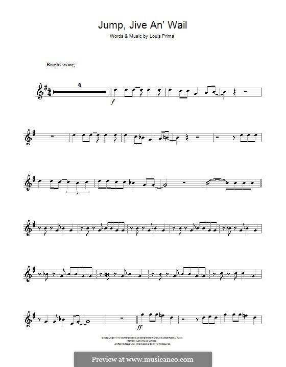 Jump, Jive an' Wail: Für Altsaxophon by Louis Prima