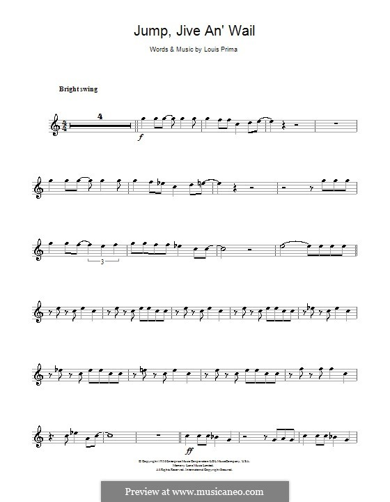Jump, Jive an' Wail: Für Klarinette by Louis Prima