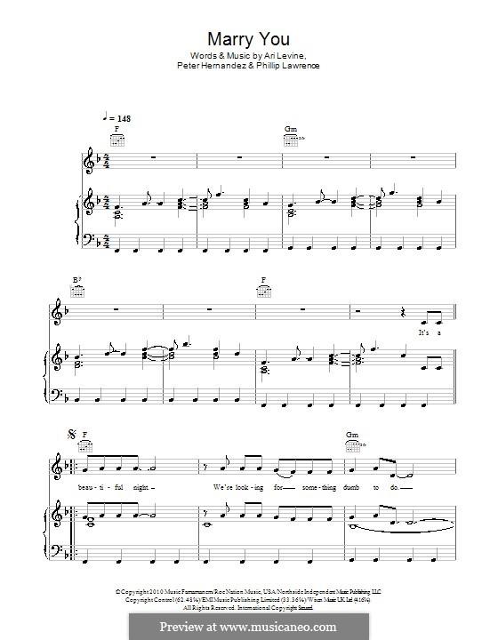 Marry You: Für Stimme mit Klavier oder Gitarre (Glee Cast) by Ari Levine, Bruno Mars, Philip Lawrence