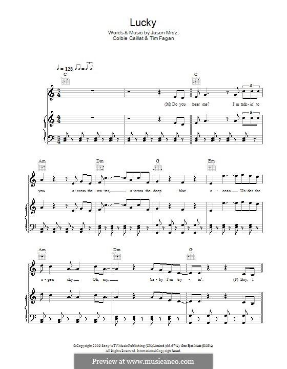 Lucky: Für Stimme mit Klavier oder Gitarre (Glee Cast) by Colbie Caillat, Jason Mraz, Timothy Fagan