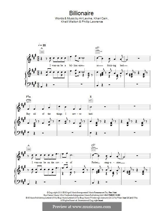 Billionaire: Für Stimme mit Klavier oder Gitarre (Glee Cast) by Ari Levine, Bruno Mars, Philip Lawrence, Travis McCoy