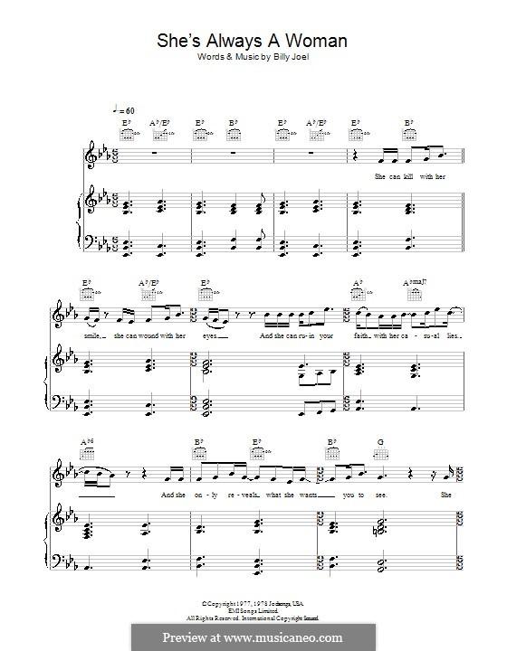 She's Always a Woman: Für Stimme mit Klavier oder Gitarre (Fyfe Dangerfield) by Billy Joel