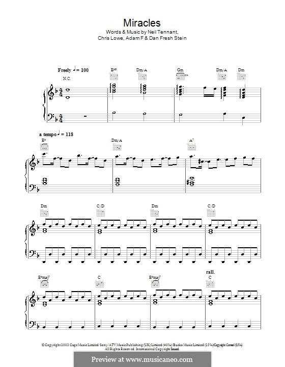 Miracles (The Pet Shop Boys): Für Stimme und Klavier (oder Gitarre) by Adam F, Chris Lowe, Dan Fresh Stein, Neil Tennant
