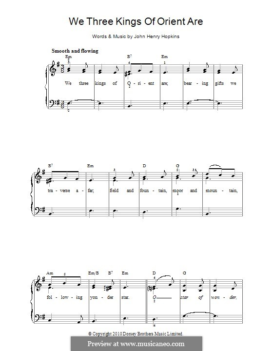 We Three Kings of Orient are, for Piano: Version für leichtes Klavier by John H. Hopkins Jr.