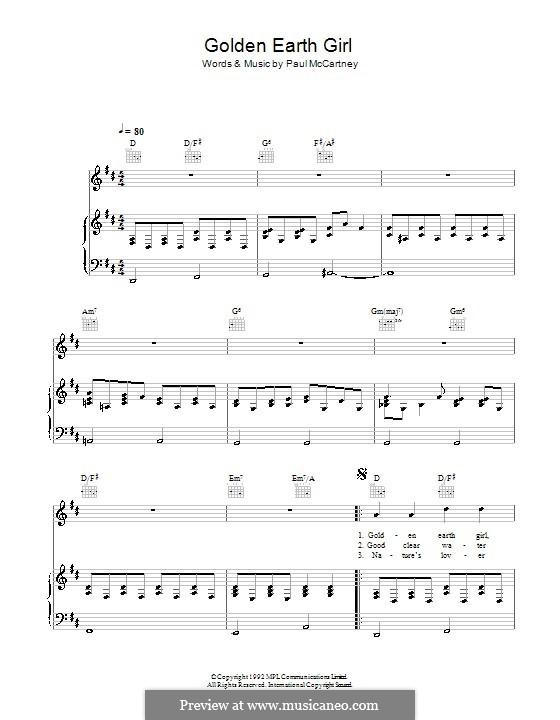 Golden Earth Girl: Für Stimme und Klavier (oder Gitarre) by Paul McCartney