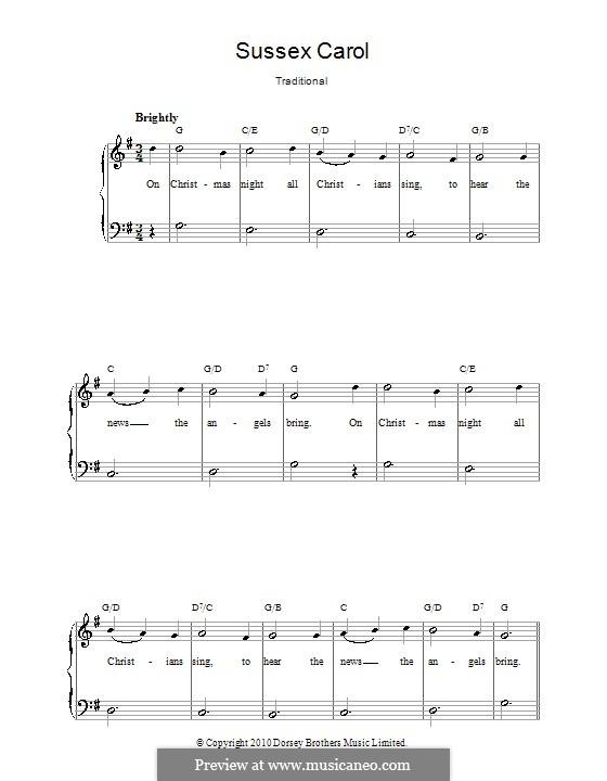 Sussex Carol: Für Klavier, leicht by folklore