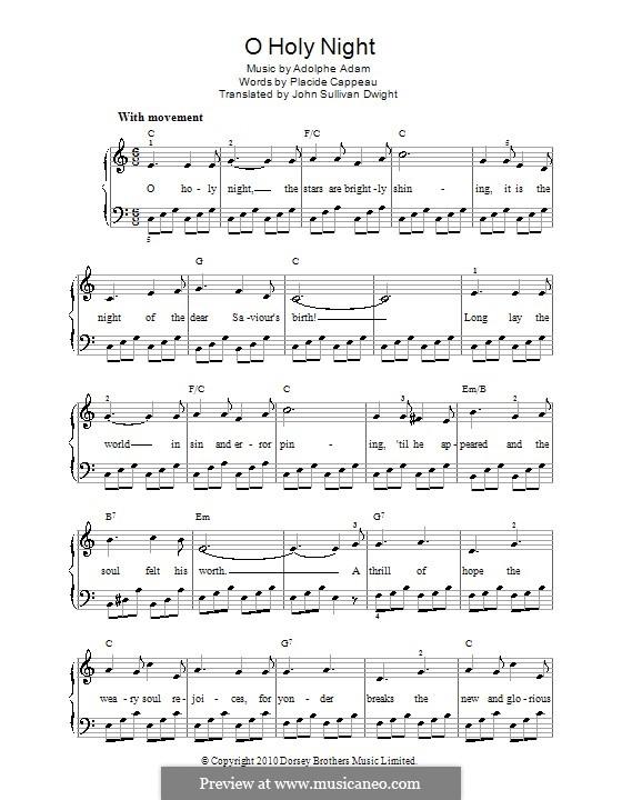 O hehre Nacht, für Klavier: Version für leichtes Klavier (C Major) by Adolphe Adam