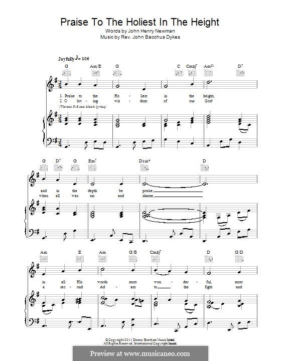 Praise to the Holiest in the Heights: Für Stimme und Klavier (oder Gitarre) by John Bacchus Dykes