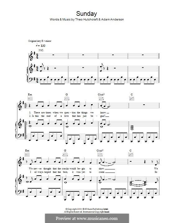 Sunday (Hurts): Für Stimme und Klavier (oder Gitarre) by Adam Anderson, Theo Hutchcraft