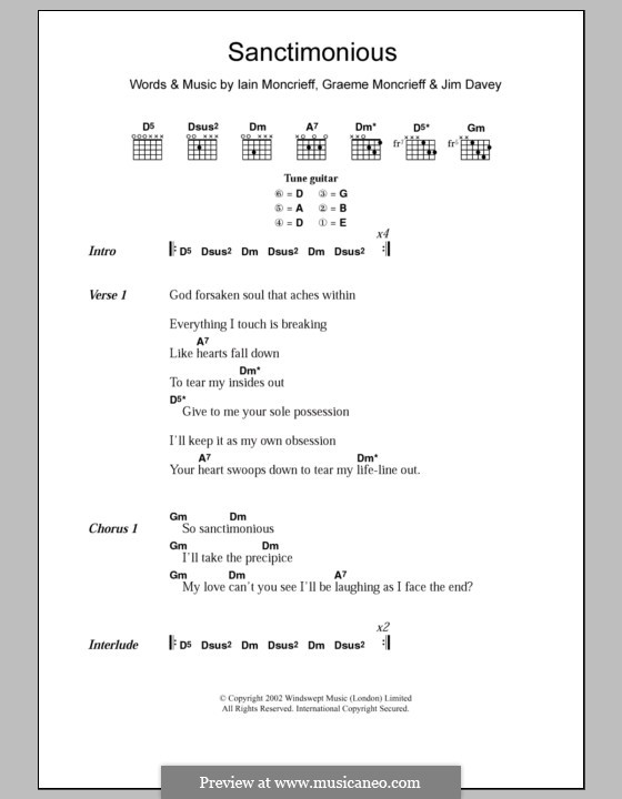 Sanctimonious (Halo): Text und Akkorde by Graeme Moncrieff, Iain Moncrieff, Jim Davey