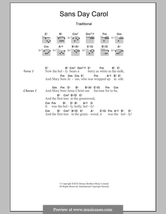 Sans Day Carol: Text und Akkorde by folklore