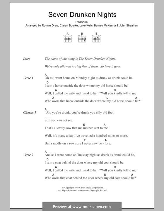 Seven Drunken Nights: Text und Akkorde by folklore