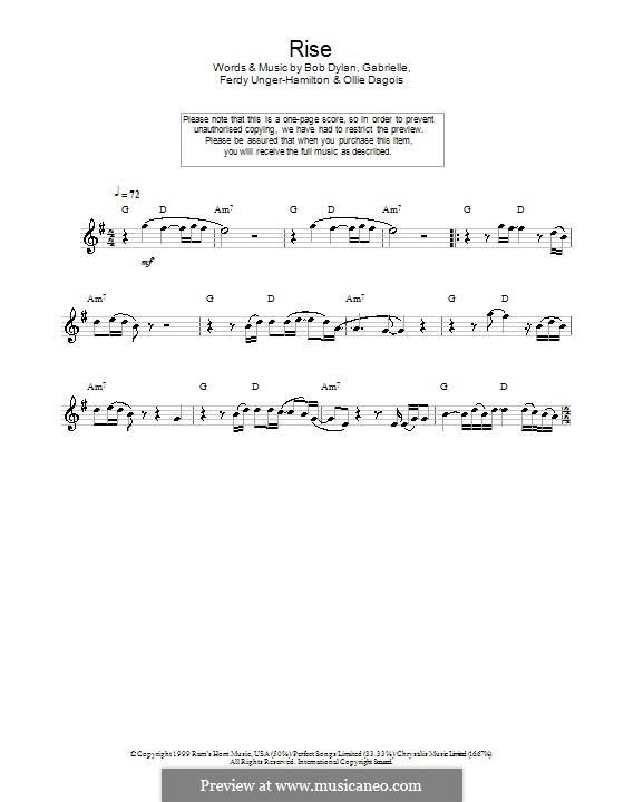 Rise: Für Flöte by Gabrielle, Bob Dylan, Ferdy Unger-Hamilton, Ollie Dagois