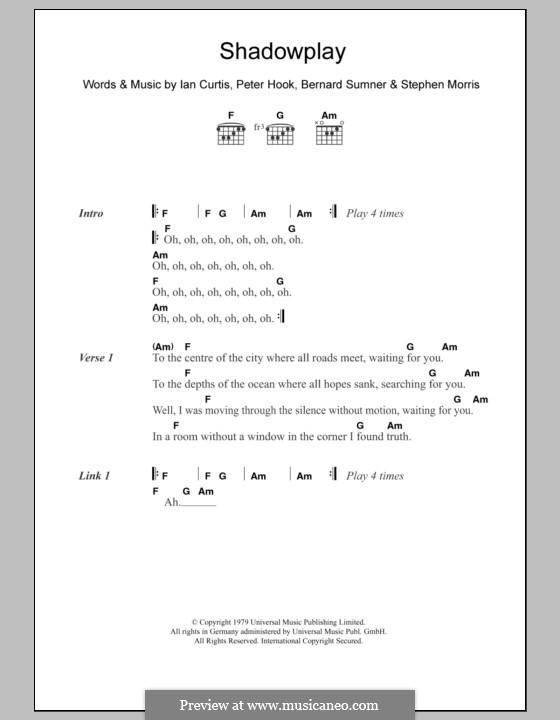 Shadowplay (The Killers): Text und Akkorde by Bernard Sumner, Ian Curtis, Peter Hook, Stephen Morris