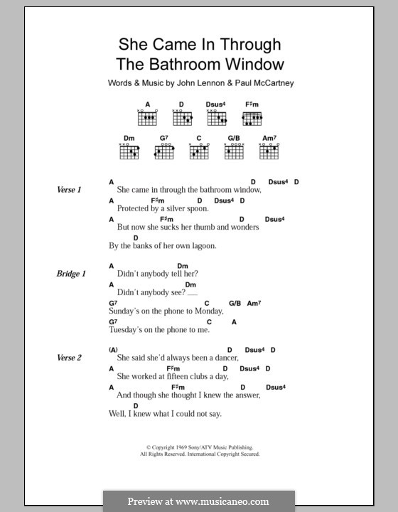She Came in Through the Bathroom Window (The Beatles): Text und Akkorde by John Lennon, Paul McCartney