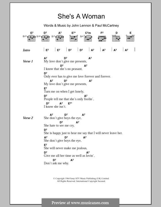 She's a Woman (The Beatles): Text und Akkorde by John Lennon, Paul McCartney