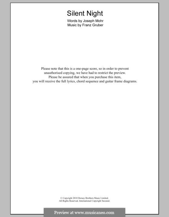 Stille Nacht (Noten zum Direktausdruck): Text und Akkorde by Franz Xaver Gruber