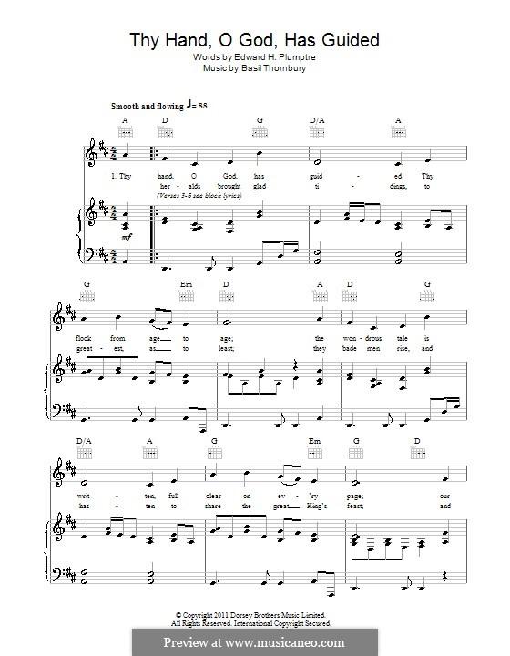 Thy Hand, O God: Für Stimme und Klavier (oder Gitarre) by Basil Thornbury