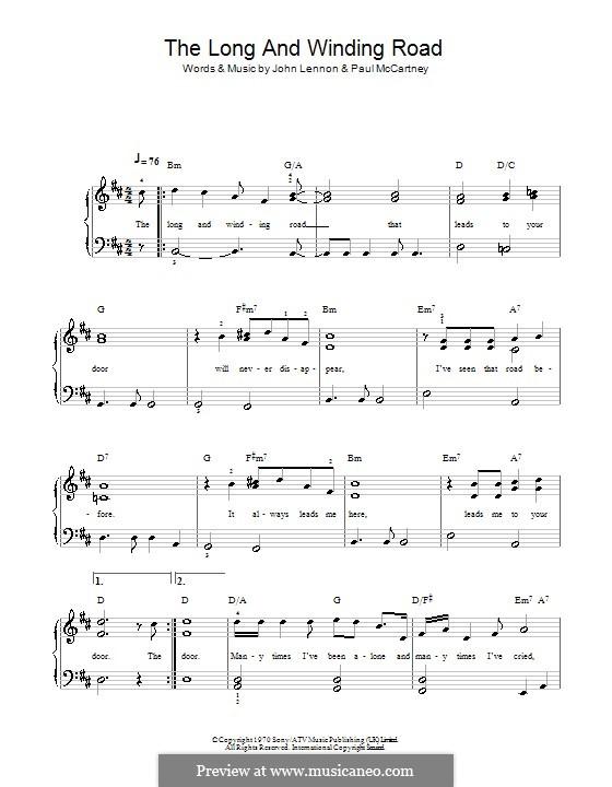 The Long and Winding Road (The Beatles): Für Klavier, leicht by John Lennon, Paul McCartney