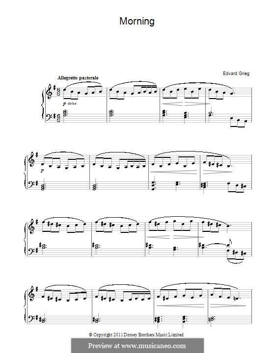 Suite Nr.1. Morgenstimmung, Op.46 No.1: Für Klavier, leicht by Edvard Grieg