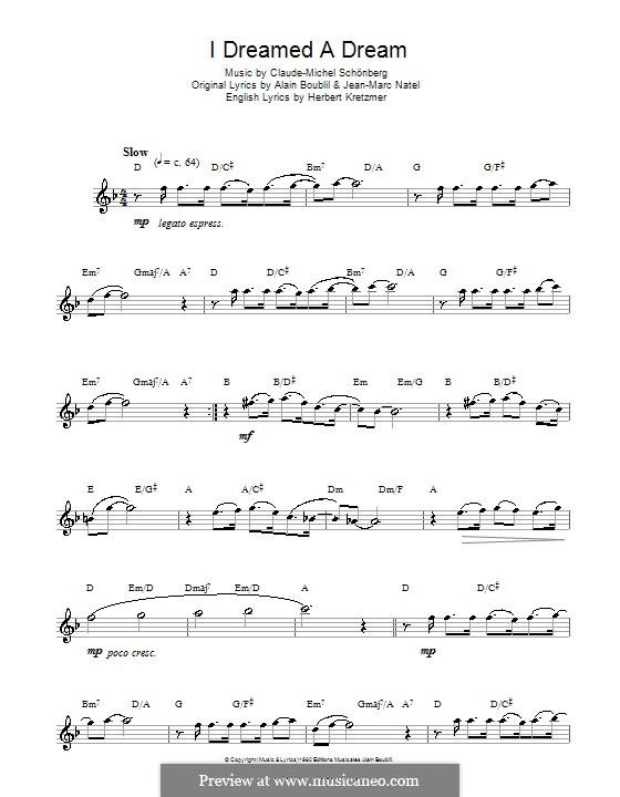 I Dreamed a Dream: Für Flöte by Claude-Michel Schönberg