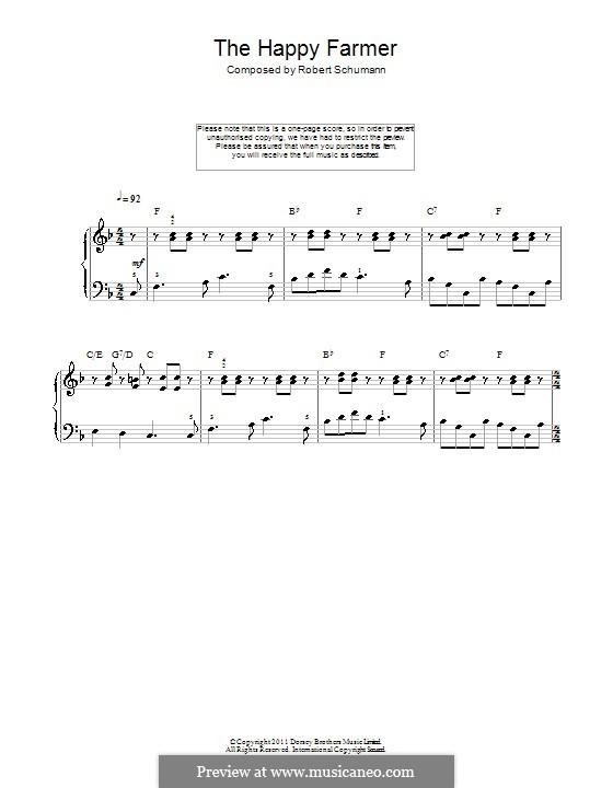 Nr.10 Fröhlicher Landmann: Klavierversion für Anfänger by Robert Schumann