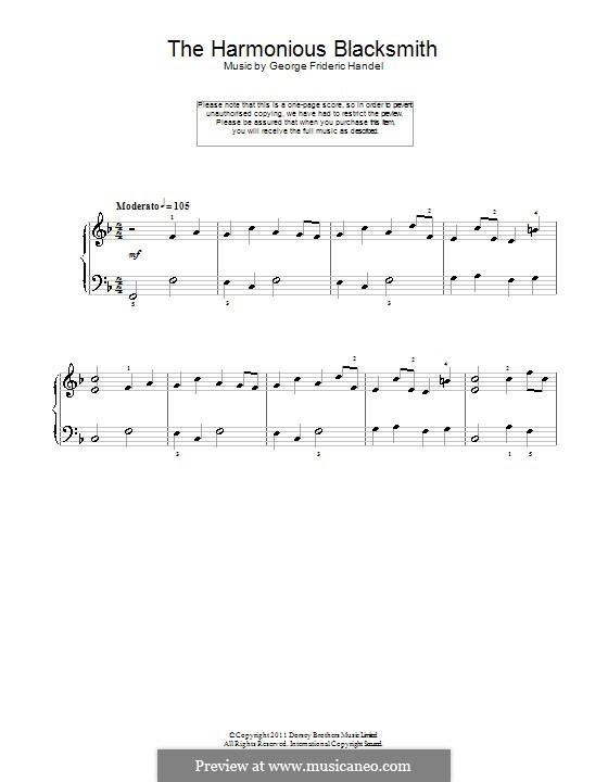 Suite Nr.5 in E-Dur, HWV 430: Teil III, einfache Noten für Klavier by Georg Friedrich Händel