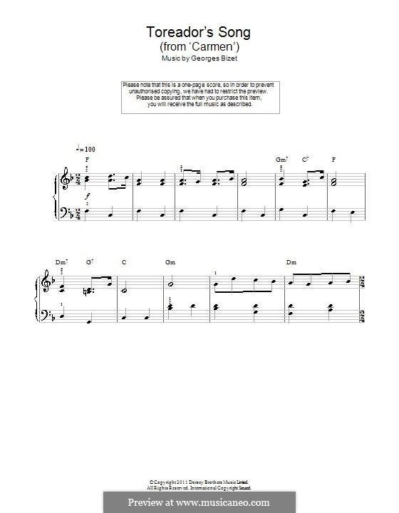 Toreador's Song: Für Klavier (leicht, mit Akkordenbezeichnung) by Georges Bizet
