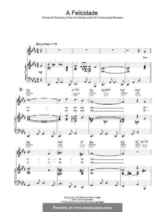 Felicidade: Für Stimme und Klavier (oder Gitarre) by Antonio Carlos Jobim