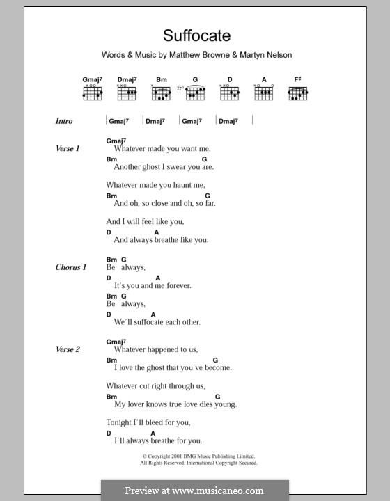 Suffocate (King Adora): Text und Akkorde by Martyn Nelson, Matthew Browne