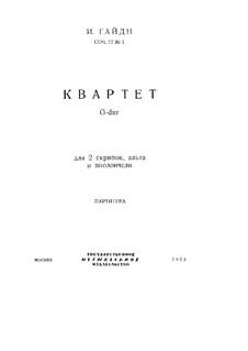 Streichquartett Nr.66 in G-Dur, Hob.III/81 Op.77 No.1: Partitur by Joseph Haydn
