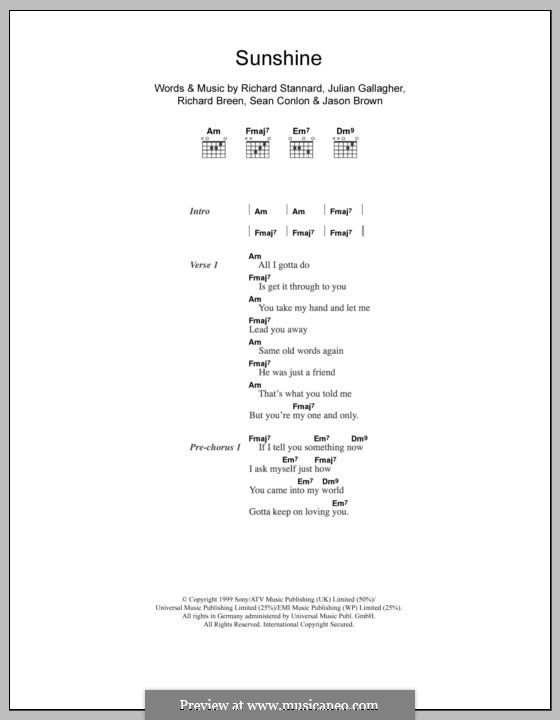 Sunshine (Five): Text und Akkorde by Jason Brown, Julian Gallagher, Richard Breen, Richard Stannard, Sean Conlon