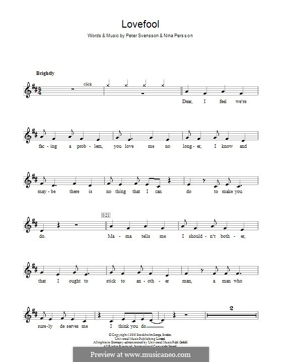 Lovefool (The Cardigans): Für Klarinette by Nina Persson, Peter Svensson