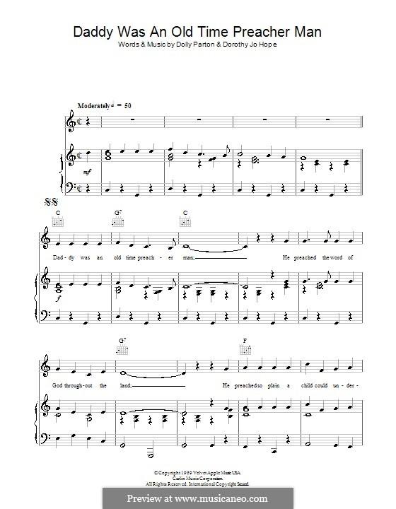 Daddy Was an Old Time Preacher Man: Für Stimme und Klavier (oder Gitarre) by Dolly Parton, Dorothy Jo Hope