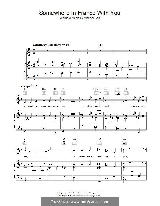 Somewhere in France with You: Für Stimme und Klavier (oder Gitarre) by Michael Carr