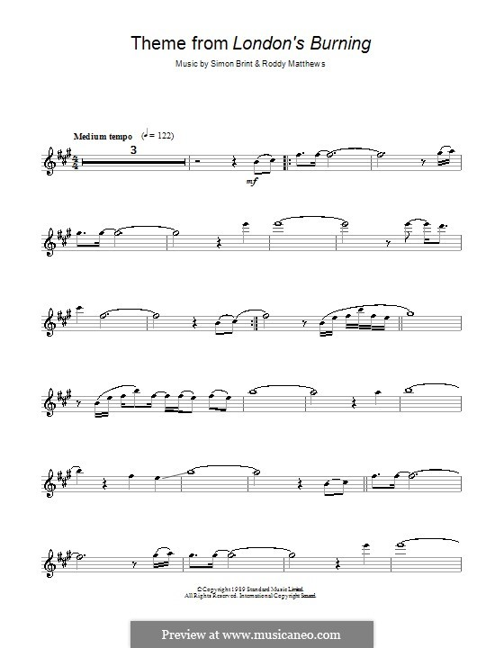 Theme from London's Burning: Für Altsaxophon by Roddy Matthews, Simon Brint