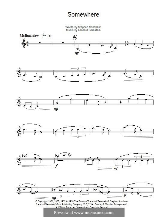 Somewhere (from West Side Story): Für Klarinette by Leonard Bernstein