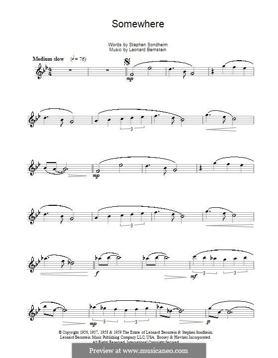 Somewhere (from West Side Story): Für Altsaxophon by Leonard Bernstein
